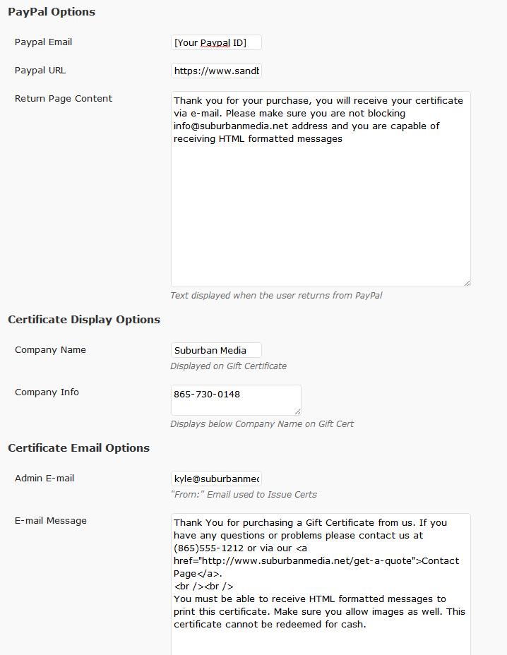 Wordpress Printable Gift Certificates